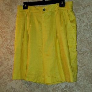 Yellow dress Linen shorts size 16